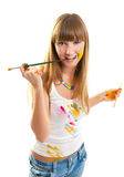 Уoung woman the artist. Royalty Free Stock Images