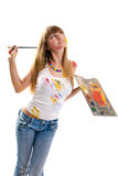 Уoung woman the artist. Royalty Free Stock Photos
