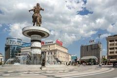 Яkopje市中心和亚历山大大帝纪念碑,马其顿 库存照片
