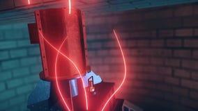 Абстрактная анимация с вращать колес шестерни двигателя окруженный красными, неоновыми волнами, промышленной концепцией закручива иллюстрация вектора