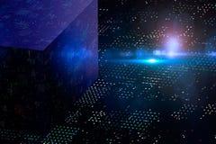 Абстрактная тайнопись и большой куб данных 3D Самомоднейшая техника связи Запятнанная предпосылка бесплатная иллюстрация