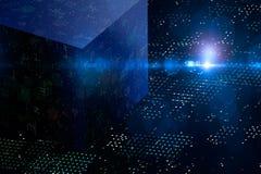 Абстрактная тайнопись 3D и большой куб данных Самомоднейшая техника связи Запятнанная предпосылка бесплатная иллюстрация