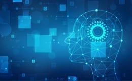 Абстрактный искусственный интеллект Творческая концепция мозга, предпосылка сети технологии иллюстрация вектора