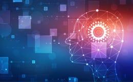 Абстрактный искусственный интеллект Творческая концепция мозга, предпосылка сети технологии иллюстрация штока