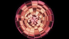 Абстрактный красный круг разделенный в участки вращая и shimmer бесконечно на черной предпосылке Блестящий круг с бесплатная иллюстрация