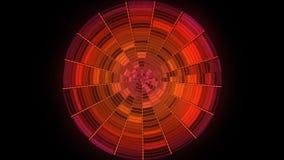 Абстрактный красный круг разделенный в участки вращая и shimmer бесконечно на черной предпосылке Блестящий круг с иллюстрация вектора