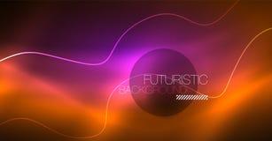 Абстрактный сияющий элемент дизайна волны цвета glowinng на темной предпосылке - наука или концепция технологии бесплатная иллюстрация