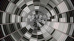 Абстрактный черно-белый круг разделенный в участки вращая и shimmer бесконечно Блестящий monochrome круг с иллюстрация штока