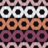Ethnic boho seamless pattern. A mosaic of hexagons. Patchwork texture. Weaving. Traditional ornament. Tribal pattern. Folk motif. stock illustration