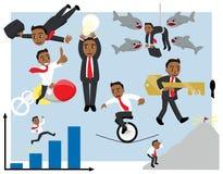 Авантюрный бизнесмен мультфильма в различном векторе представлений установил версию Tan иллюстрация вектора