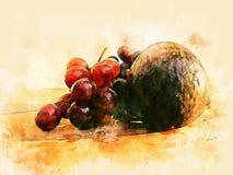 Авокадо и виноградины конца-вверх на деревянной текстуре на картине иллюстрации акварели иллюстрация вектора