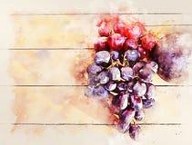 Авокадо и виноградины конца-вверх на деревянной текстуре на картине иллюстрации акварели бесплатная иллюстрация