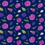 Акварель цветет безшовная картина Весеннее время Цветки и листья Темная предпосылка иллюстрация вектора