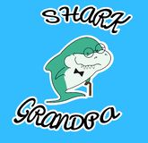 Акулы семьи Акула Grandpa с тросточкой и бабочкой Милый характер зеленого цвета мультфильма с eyeglasses морских животных Печать  бесплатная иллюстрация