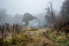 Ангар в тумане утра стоковые фотографии rf