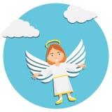 Ангел рождества милый рождество младенца ангела Иллюстрация молодого ангела в белый молить иллюстрация штока