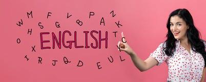 Английская тема с молодой женщиной стоковое изображение