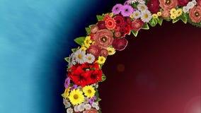 Анимация завихряясь кольца цветков на светлом - голубая и красная предпосылка Видео петли видеоматериал
