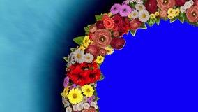 Анимация завихряясь кольца цветов на светлом - голубая и голубая хроматичная предпосылка Ключ Chroma Видео петли сток-видео