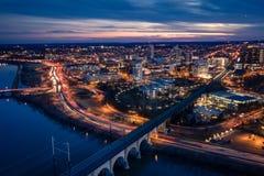 Антенна захода солнца в Ньюе-Брансуик Нью-Джерси стоковые фотографии rf