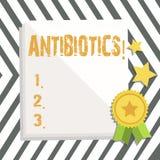 Антибиотики текста сочинительства слова Концепция дела для лекарства используемого в обработке и предохранении бактериальных инфе иллюстрация вектора