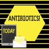 Антибиотики текста сочинительства слова Концепция дела для лекарства используемого в обработке и предохранении бактериальных инфе бесплатная иллюстрация