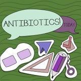 Антибиотики сочинительства текста почерка Лекарство смысла концепции используемое в обработке и предохранении бактериальных инфек иллюстрация вектора