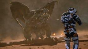 Астронавт против дракона Эпичное сражение с взрывами, съемками и дымом на ний нанесенный на карта планете Фантазия 3D анимации бесплатная иллюстрация