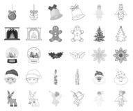 Атрибуты рождества и аксессуары monochrome, значки плана в установленном собрании для дизайна вектор рождества веселый иллюстрация вектора