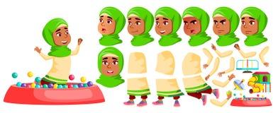 Арабский, мусульманский вектор ребенк детского сада девушки Комплект творения анимации r Preschool, детство друг иллюстрация вектора