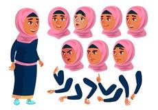 Арабский, мусульманский предназначенный для подростков вектор девушки подросток положительно Эмоции стороны, различные жесты Комп бесплатная иллюстрация