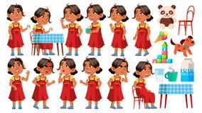 Арабский, мусульманский ребенк детского сада девушки представляет установленный вектор Играть характера ребяческо Вскользь оденьт бесплатная иллюстрация