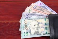 Армянская драхма в черном бумажнике стоковое изображение