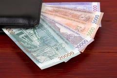 Армянские деньги в черном бумажнике стоковое фото