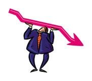 а businessman keep up red arrow. А businessman keep up red arrow. Vector stock illustration