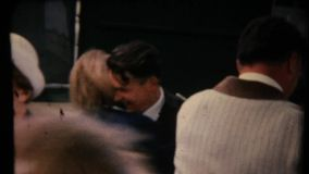А man and a woman meet at the train station. stock video footage