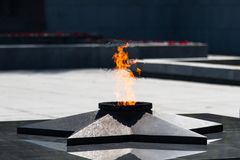 А symbol of victory and a tribute to memory. Eternal flame. А symbol of victory and a tribute to memory Stock Photo