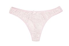 А women's cotton panties pink thong with lace Stock Images