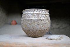 Аncient clay pot of Neolithic times royalty free stock image