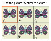 Illustration of Finding Two Identical Pictures. Educational Game for Children. Butterfly. Illustration of finding two same pictures. Educational Game for royalty free illustration