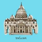 Базилика вычерченного St Peter руки, Ватикан, Рим, Италия иллюстрация вектора