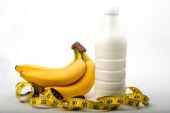 банан и крупный план сантиметра Крупный план банана сантиметр с бананом стоковое фото