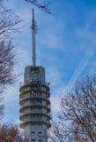 Башня большого сигнала передавая, взгляд от леса с голубым небом, современная технология и архитектура стоковое фото rf