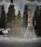 Башня фантазии в туманном лесе стоковые фотографии rf