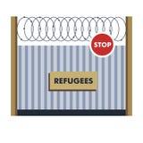 Беженцы ограждают со связывать проволокой переход границы противозаконной миграции иллюстрация вектора