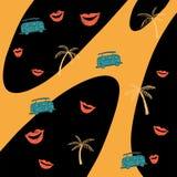 Безшовная желтая и черная картина падения с губами, автобусом и пальмами иллюстрация вектора