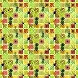 Безшовная картина на покрашенной предпосылке с ананасами иллюстрация вектора