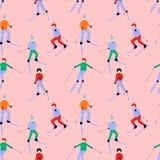 Безшовная картина с активными катаясь на лыжах одеждами зимы людей нося иллюстрация штока