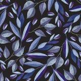 Безшовная картина с ветвями акварели голубыми бесплатная иллюстрация