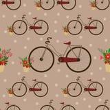 Безшовная картина с винтажным велосипедом - иллюстрацией вектора, eps иллюстрация штока